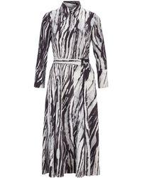 BOSS Belted Midi Shirt Dress In Zebra-print Italian Twill - Black