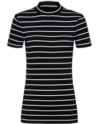 HUGO Short-sleeved Striped Top In Ribbed Stretch Jersey - Black