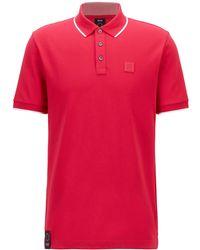 BOSS by HUGO BOSS Poloshirt aus Bio-Baumwolle und recycelten Fasern - Rot