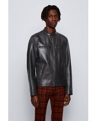 BOSS by HUGO BOSS Veste en cuir à poches-poitrine zippées - Noir