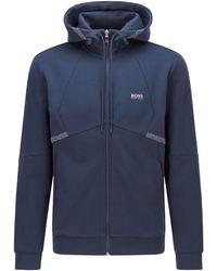 BOSS by HUGO BOSS Regular-fit Sweater Met Pixelprint En Logo - Blauw