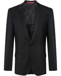 HUGO Slim-fit Jacket In Virgin-wool Poplin - Black