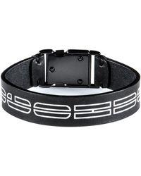 BOSS by Hugo Boss Italian Leather Cuff With New Season Logo Print - Black