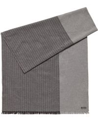 BOSS - Brushed-cotton Block-stripe Scarf With Logo Detail - Lyst