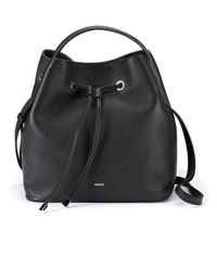 HUGO Bucket Bag In Grained Leather With New-season Hardware - Black