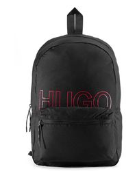 HUGO Convertible Logo-print Backpack In Recycled Fabric - Black