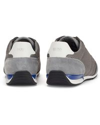 BOSS by HUGO BOSS Lage Sneakers Van Mesh Met Gerubberde Details - Grijs