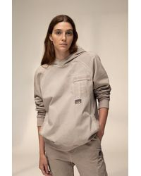 BOSS by Hugo Boss Unisex Hooded Sweatshirt In Cotton With Chevron Print Logo - Natural