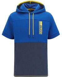 BOSS by Hugo Boss Kapuzen-Sweatshirt mit kurzen Ärmeln und gesticktem Colour-Block-Logo - Blau