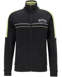 BOSS by Hugo Boss Regular-fit Sweatshirt With Curved Logo - Black