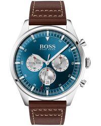 BOSS Montre chronographe en acier inoxydable à bracelet en cuir marron