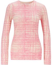BOSS Printed Sweater In Ribbed Virgin Wool - Pink