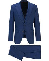 BOSS by Hugo Boss Driedelig Slim-fit Pak Van Scheerwol Met Microdessin - Blauw
