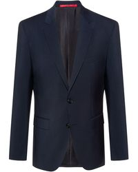 HUGO Chaqueta regular fit de lana virgen con elástico natural - Azul