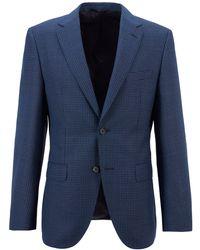 BOSS by HUGO BOSS Regular-fit Jacket In Houndstooth Virgin Wool - Blue