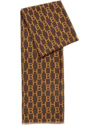 BOSS - Italian-made Wool Scarf With Monogram And Check Print - Lyst