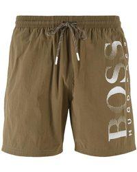BOSS by HUGO BOSS Bañador tipo shorts con logo estampado en tejido técnico - Marrón