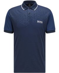 BOSS by HUGO BOSS Slim-fit Polo Shirt With Hexagon Print And S.café® - Blue