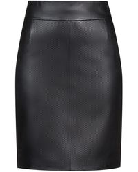HUGO - Lambskin Pencil Skirt With Perforated Detailing - Lyst