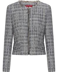 HUGO Chaqueta regular fit de tweed con cremallera y detalles deshilachados - Gris