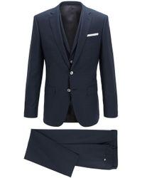 BOSS - Slim-fit Three-piece Suit In Plain-check Virgin Wool - Lyst