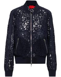 HUGO Floral-lace Bomber Jacket With Logo-tape Sleeves - Blue