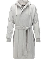 BOSS by Hugo Boss Cotton-blend Hooded Bathrobe With Striped Sleeves - Grey
