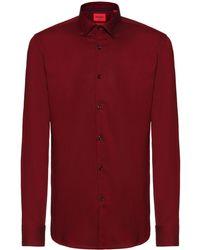 HUGO Slim-fit Overhemd Van Gemakkelijk Te Strijken Oxfordkatoen - Rood