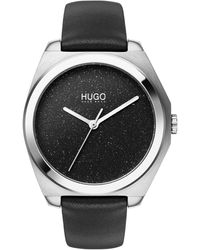 HUGO Leather-strap Watch With Stardust-effect Dial - Multicolor