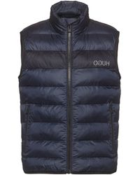 HUGO Recycled-fabric Puffer Gilet With Reversed Logo - Blue