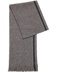 BOSS - Virgin-wool Scarf With Engineered Stripe - Lyst