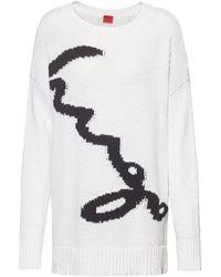 HUGO Oversized-fit Trui Met Intarsia-logo - Wit