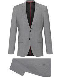 HUGO Extra Slim-Fit Anzug aus elastischem Schurwoll-Mix - Grau