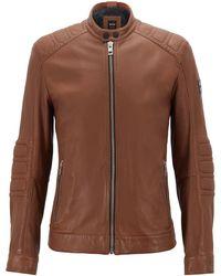 BOSS - Slim-fit Biker Jacket In Lightly Waxed Leather - Lyst