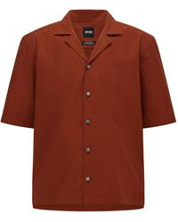 BOSS by HUGO BOSS Chemise à manches courtes Regular Fit en popeline de coton italien - Marron