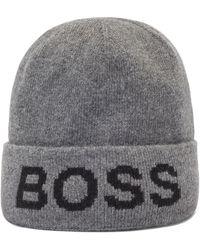 BOSS by HUGO BOSS Beanie Met Intarsia-logo En Omgeslagen Rand - Grijs
