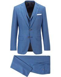 BOSS by HUGO BOSS Three-piece Slim-fit Suit In Virgin-wool Serge - Blue