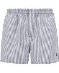 BOSS Two-pack Of Pyjama Shorts In Cotton Poplin - Blue