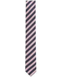 BOSS Water-repellent Tie In Diagonal-striped Silk Jacquard - Pink