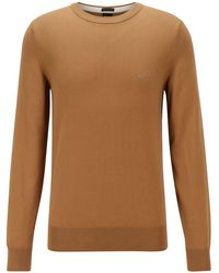 BOSS by HUGO BOSS Crew-neck Jumper In Italian Cotton With Logo Embroidery - Natural