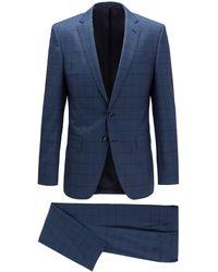 BOSS Slim-fit Suit In Checkered Virgin Wool - Blue