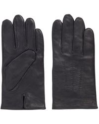BOSS by HUGO BOSS Lamb-leather Gloves With Piping And Hardware Badge - Black