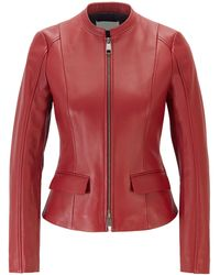 BOSS Leather Jacket In Lamb Nappa With Buckle Detail - Red