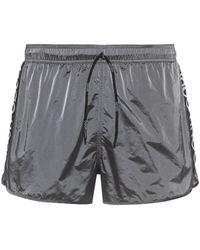 HUGO Quick-drying Swim Shorts With Reversed-logo Stripe - Metallic