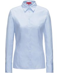 HUGO Slim-fit Blouse In Houndstooth Cotton - Blue