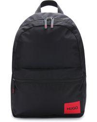 HUGO Sac à dos en nylon recyclé avec étiquette logo rouge - Noir
