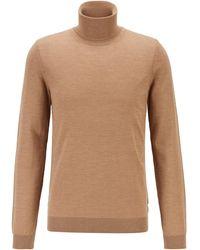 BOSS by HUGO BOSS Jersey de cuello alto en lana de merino italiana extrafina - Neutro
