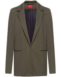 HUGO Long-line Regular-fit Jacket In Stretch Twill - Multicolour
