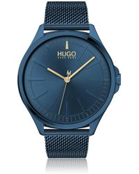 HUGO Blue-plated Watch In Stainless Steel With Mesh Bracelet