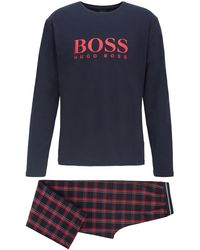 BOSS Logo Pyjama Set In Pure Cotton With Branded Bag - Red